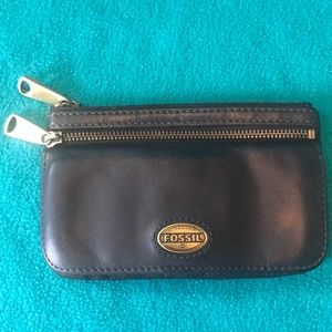 Fossil Leather Wallet w Two Zippered pockets